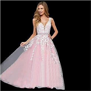e303dd1c88118a Abaowedding Women's Wedding Dress for Bride Lace Applique Evening Dress V  Neck Straps Ball Gowns