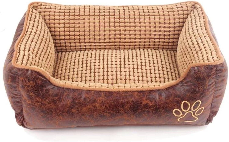 DSAQAO Washable square dog bed for medium & large dogs, Plush Pet basket Pet nest Pet bolster bed Pet cat bedA L 70x55x22cm(28x22x9inch)