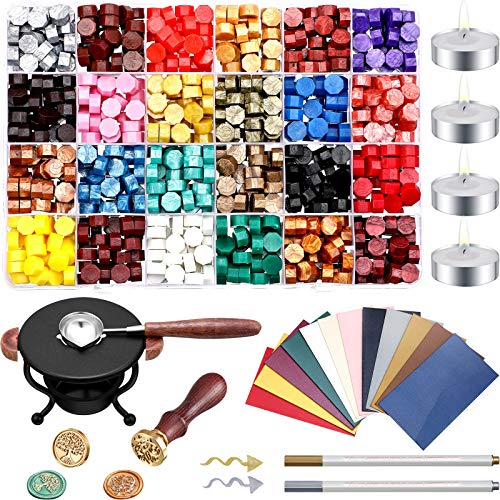 742 Pieces Wax Seal Kit, 720 Wax Seal Beads Octagon Wax Beads, 4 Wax Candles, 12 Vintage Envelopes, Wax Seal Warmer, Wax Melting Spoon, 2 Wax Stamp and 2 Marker Pen for Wax Stamp Sealing