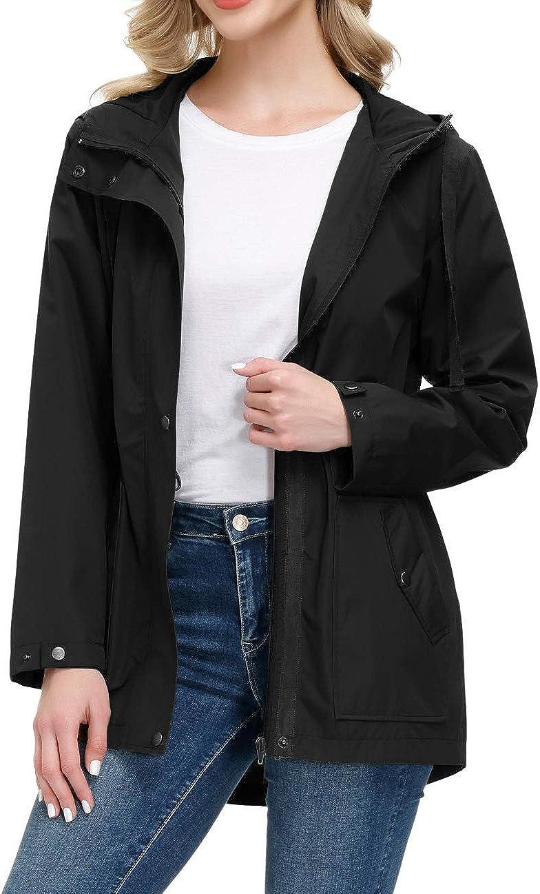 GRACE KARIN Women Lightweight Waterproof Hooded Rain Jacket Outdoor Windbreaker