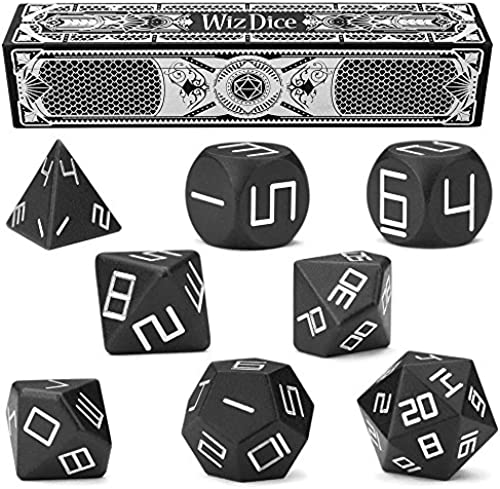 Set of 8 Obsidian Masterwork Precision Aluminum Polyhedrals with Laser-Etched Strongbox by Wiz Dice by Wiz Dice
