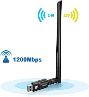 Inamax USB WiFi Adapter 1200Mbps, USB 3.0 Wireless Network WiFi Dongle with 5dBi Antenna for PC/Desktop/Laptop/Mac, Dual Band 2.4G/5G 802.11ac,Support Windows 10/8/8.1/7/Vista/XP, Mac10.5-10.15
