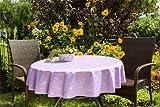 ODERTEX Tischdecken für Küche und Wohnstube mit ACRYL und BLEIBAND abwaschbar, Form und Größe sowie Farbe wählbar,140 cm rund Flieder lila London