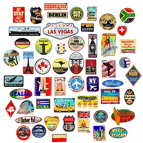 Luggage stickers 54x suitcase patches vintage travel labels retro vintage graffiti iphone car stickerbomb style vinyl decals door skateboard cafe