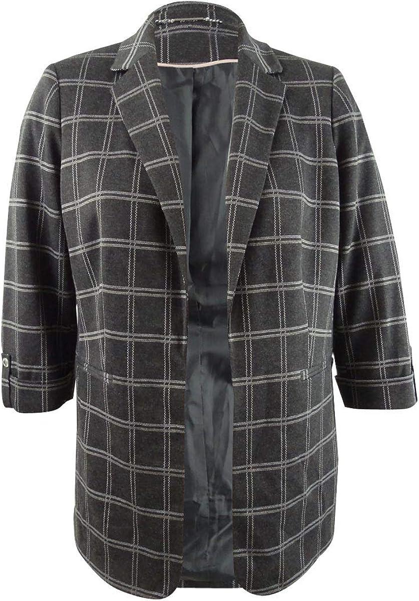 Calvin Financial sales sale Klein Womens Gray Plaid Rare Size Jacket
