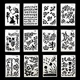 Plantillas de pintura de dibujo, conjunto de 12 conjuntos de plantillas a escala Formas de plantillas de dibujo de plástico Plantillas gráficas para niños