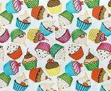Stoff aus 100 % Baumwolle – niedliche Cupcakes auf Creme
