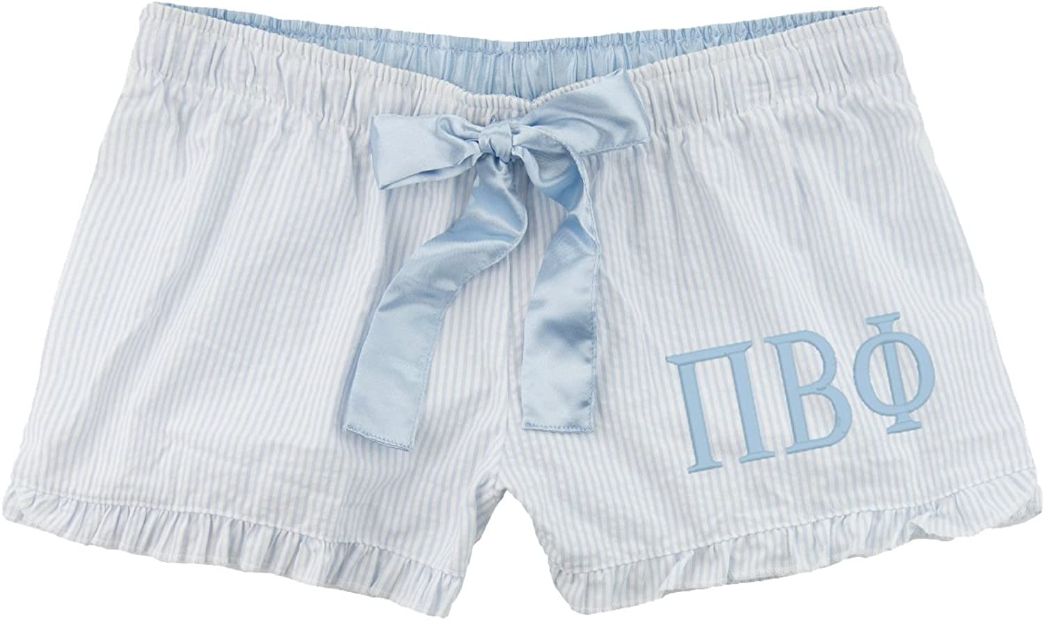 Cotton Sisters Pi Beta Phi Seersucker Boxer Shorts  Light bluee