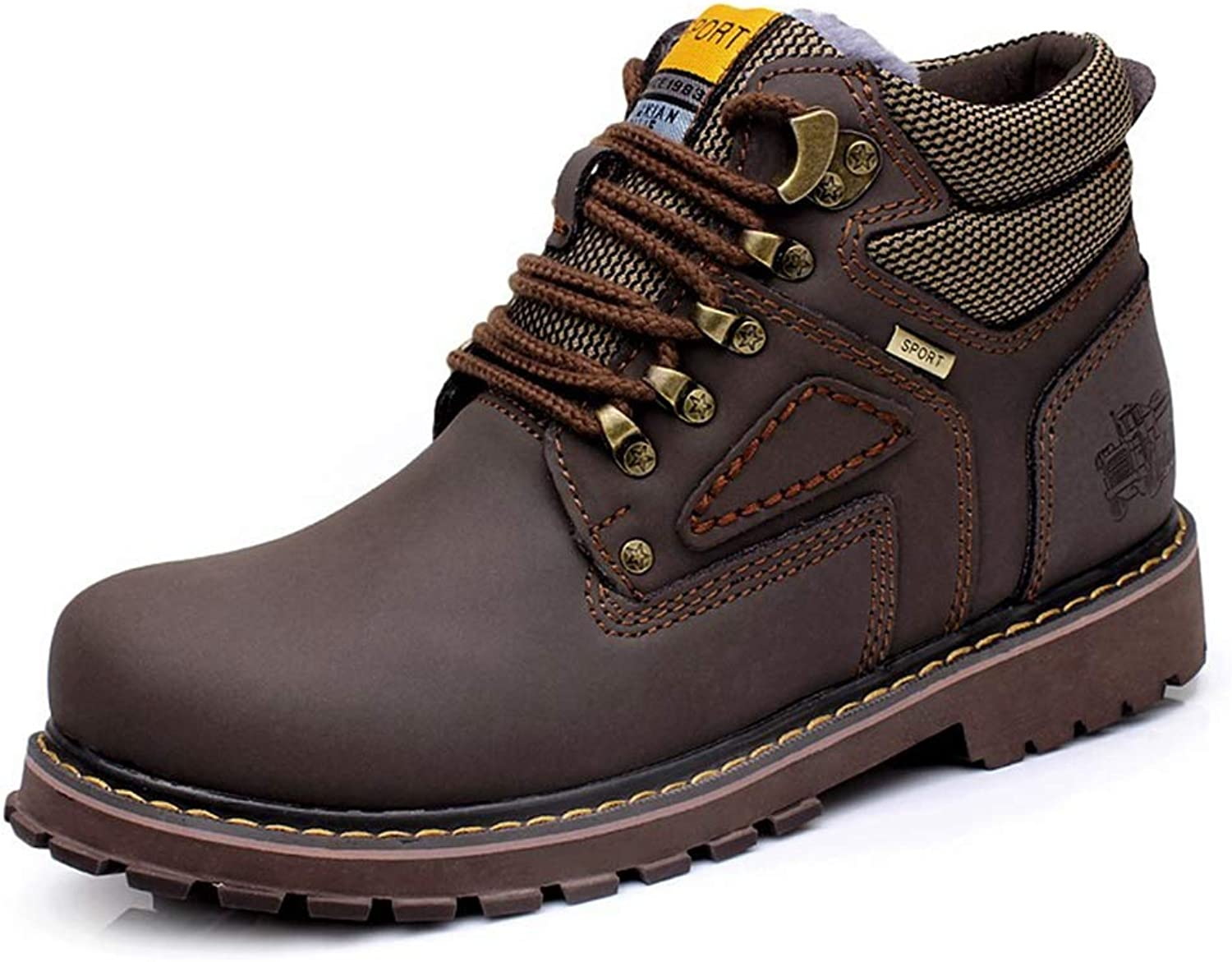 Phil Betty Mens Martin Boots Autumn Winter Warm Round Toe Lace-Up Outdoor Non-Slip Booties