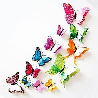 Toruiwa 12x Papillon 3D Autocollants Stickers Muraux Amovible pour D/écoration de Fen/être Chambre H/ôtel Salon Salle /à Manger