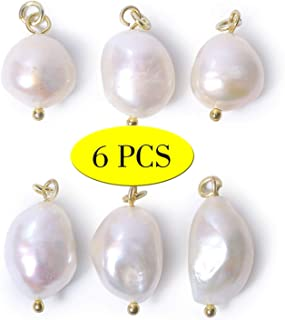 Wholesale 6 PCS Baroque Pearl Charm White Freshwater Pearls Pendant Bulk for Jewelry Making, 14K Gold Plated