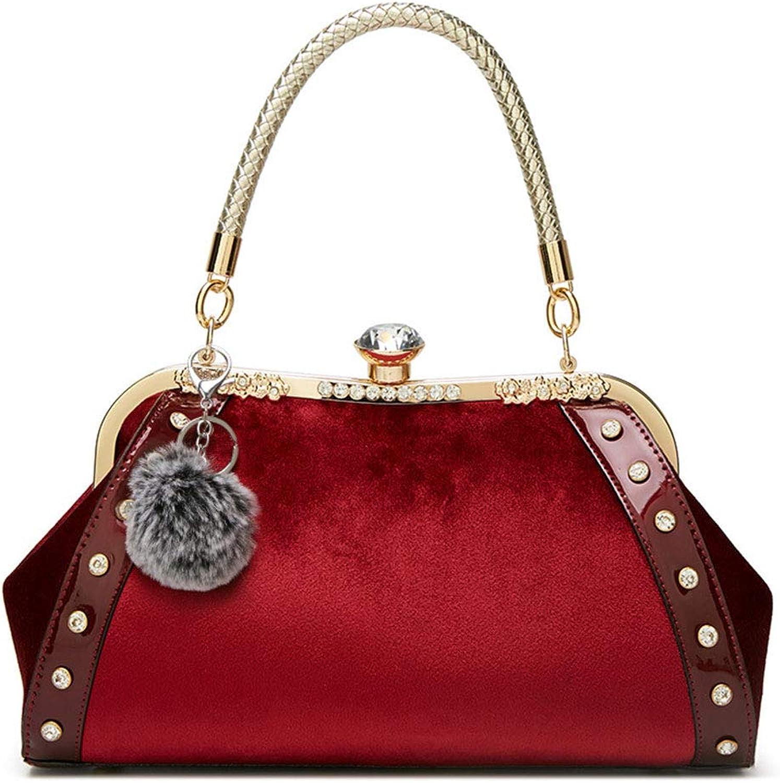 HoHome Fashion Handbags, Velvet Evening Clutch Purse, Tote Shoulder Bag Crossbody Top Handle Bags