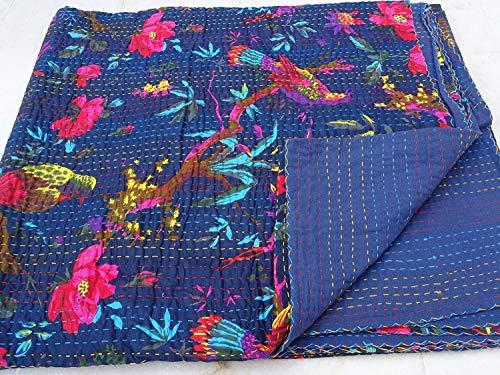 Colcha Kantha con estampado de pájaro azul, colcha Kantha de tamaño individual, manta Kantha, colcha Kantha, colcha Kantha, colcha de algodón Kantha, colcha Kantha, colcha Kantha