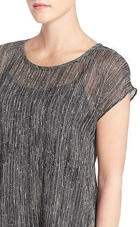 EileenFisher Black Print Crinkled Silk Scoop Neck Top Size PL MSRP  198