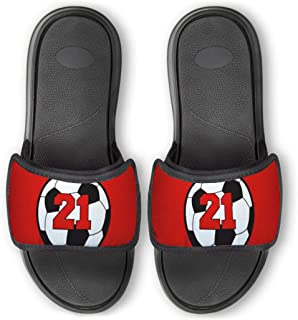 Personalized Soccer Repwell Slide Sandals | Soccer Ball Number | Red | M8