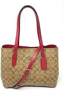 Coach Women's Avenue Signature Carryall Shoulder Bag, Leather - Khaki Dark Fuchsia