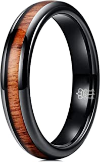 THREE KEYS JEWELRY 4mm 6mm 8mm Black Tungsten Wedding Ring Domed with Real Koa Wood Inlay