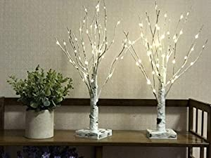 2FT 64LT Warm White Copper Wire Lamp LED Battery Operated Birch Tree Light Tabletop Tree Light Jewelry Holder Decor for Home Party Wedding(Not Contain Batteries)