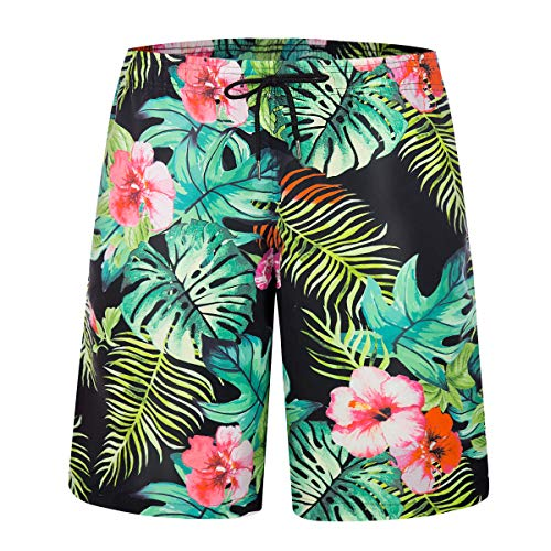 ZHPUAT Men's Swim Trunks Beach Board Shorts Quick Dry Bathing Suits Holiday Shorts-Flower Leaf-M