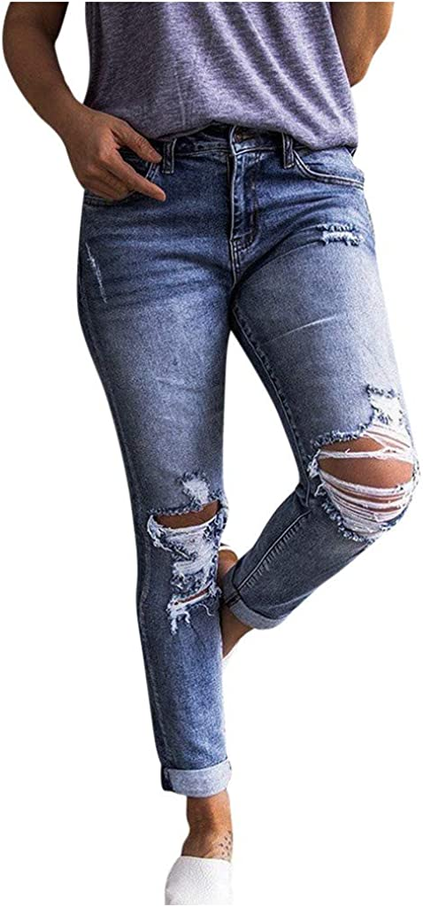 Distressed Jeans for Women,Women's Fashion Individuality Slim Fit Female Ripped Fringe Jeans Long Trousers