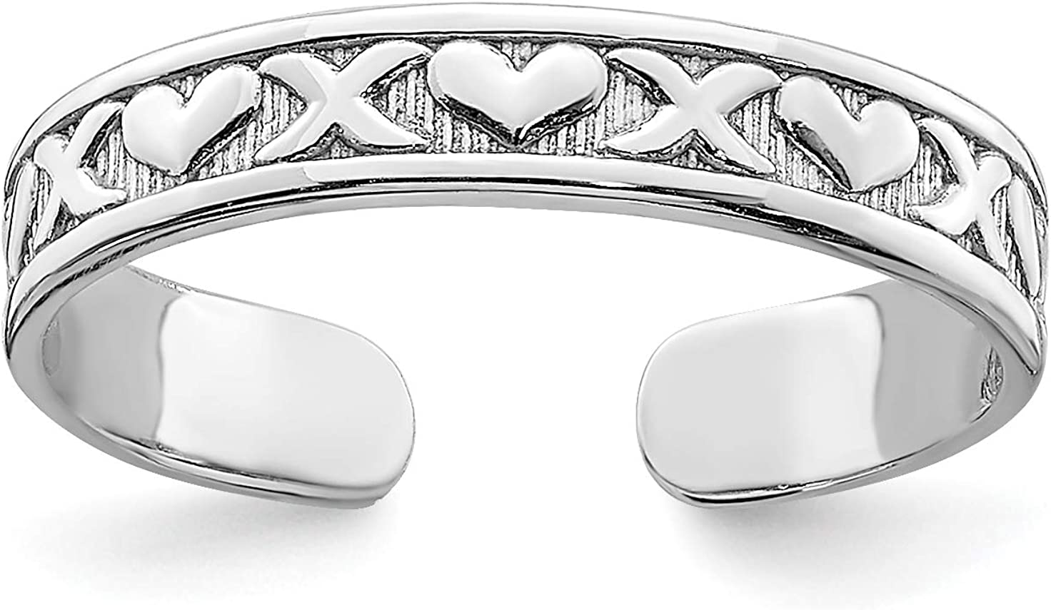 14k White Gold Alternating X and Hearts Pattern Toe Ring