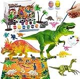 Morkka Dinosaurios Juguetes 6 Años, Manualidades para Niños, 40 Piezas Pintura Kit con Tapete de Juego, Figuras Dinosaurios, 12 Colores Pintura, Creativo Juego Cumpleaño Regalos niños 3 4 5 6 7 8 Años