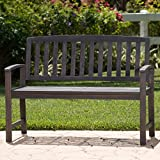 Laguna Outdoor Patio Acacia Wood Bench (Dark Grey)
