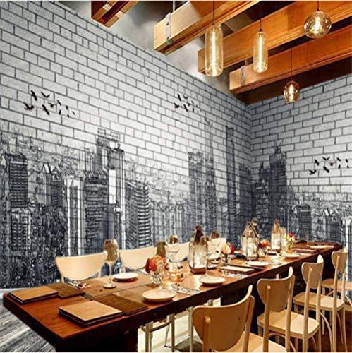 Mmneb Moderne Stadt Fototapeten 3D Brick Stone Wallpapers Für Wohnzimmer Schlafzimmer Tapeten Wohnkultur Vintage Black Street Wandbild-280X200Cm