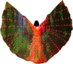 LED Belly Dance Wings for Women, Butterfly Shawl Fairy Ladies Cape Nymph Pixie Costume Accessory with Telescopic Sticks for Halloween Carnival Performance by Show TINE ON (Red,E)