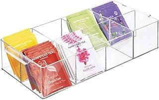 mDesign boîte de rangement à 8 compartiments – organiseur de cuisine en plastique pour thé, épices, etc. – boîte à thé ave...