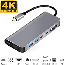 USB-C to HDMI VGA Ethernet Hub Adapter for 2016/2017/2018 MacBook/MacBook Pro/MacBook Air 2018, Support Samsung DeX for Galaxy S10/S10+/S10e/S9/S9+/S8/S8+/Note 9/8,Nintendo Switch HDMI Adapter