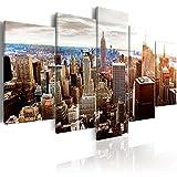 murando Cuadro en Lienzo Abstracto Nueva York 225x112 cm Impresión de 5 Piezas Material Tejido no Tejido Impresión Artística Imagen Gráfica Decoracion de Pared New York NYC Ciudad d-B-0189-b-o