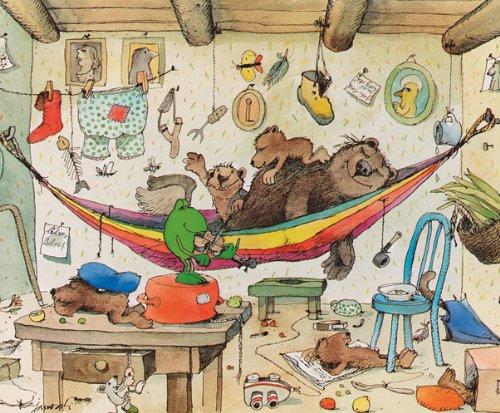 Kunstdruck / Poster 58x48 BÄREN FAMILIE Janosch - Bär Frosch Bild