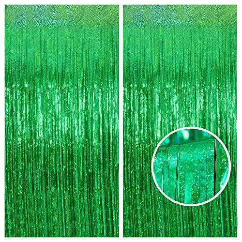 Foil Curtain Backdrop, Melsan 2 Pack 3.2 ft x 8.2 ft Tinsel Foil Fringe Curtains, Sparkle Metallic Foil Fringe Curtains for Party Photo Booth Props Decoration, Green