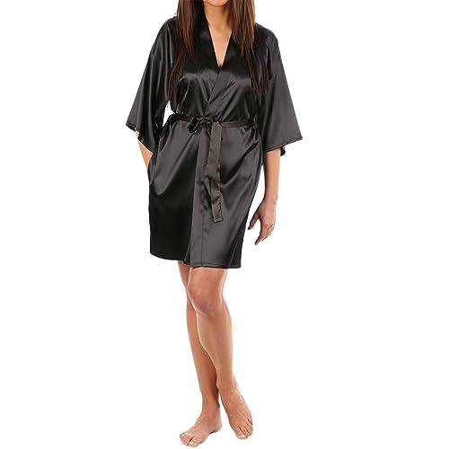 LAPAYA Women s Kimono Robe Knee Length Bridal Lingerie Sleepwear Short  Satin Robe a0af283c2