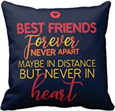 YaYa cafe Canvas Cotton Friendship Day BestFriends Forever Never Apart Cushion Covers (12x12 inch, Purple)