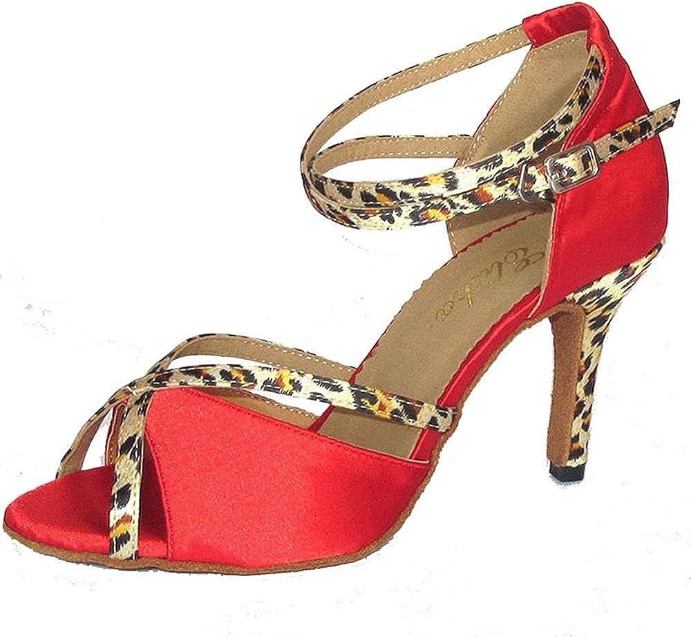 4 Inches Slim High Heel Womens Sexy Latin Dance Shoe Open Toe Salsa Shoe Soft Sole Socials Party Professtional Tango Dancing Sandals More Colors