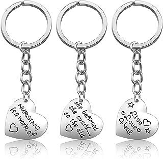 Nurse Gifts for Women - Nurse Keychain Pack of 3PCS, Nursing Graduation Gifts, Valentines Birthday Gift for Nurses Practitioner, Blue Pink White Crystal Heart Pendant Nurse Jewelry Set (2#)