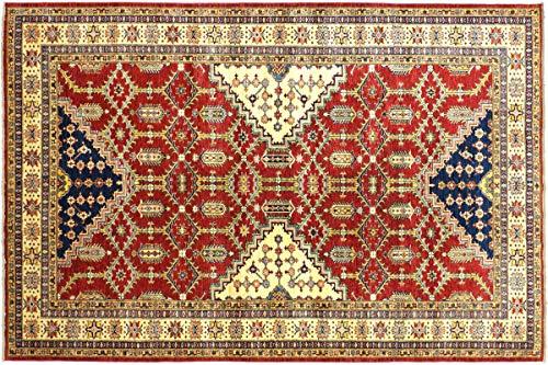 Afghan Kazak Fein 318x197 Handgeknüpft Teppich 200x320 Rot Umrandung