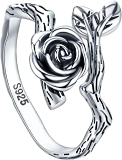 S925 Sterling Silver Oxidized Flower Rose Ring, 3D Adjustable Wrap Open Rose Rings Jewelry Gift for Women