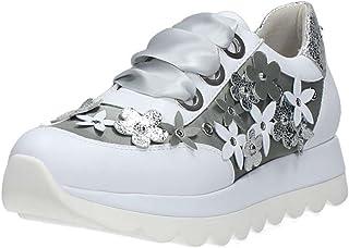 CafèNoir KDB132203360 E18.203 Bianco 36 Sneakers Allacciata in Pelle con Fiori