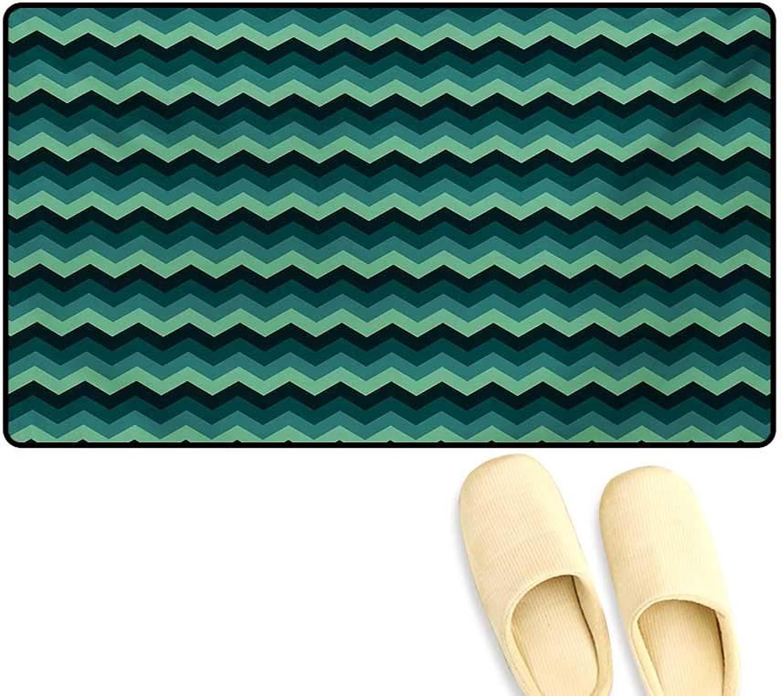 Door-mat,Expressionist Chevron Style Pattern Geometric Vibrant colord Modern Artful,Door Mats Inside Bathroom Mat Non Slip,Mint Green Teal Black,24 x36