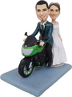 Motocicleta toppers de la torta boda novia y el novio moto figura escultura estatua muñeca decoraciones