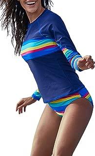 Women's Long Sleeves Rash Guard Athletic Swim Aztec Tankini Sets Swimsuit