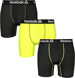 Reebok Mens 3 Pack Performance Quick Dry Moisture Wicking Boxer Briefs