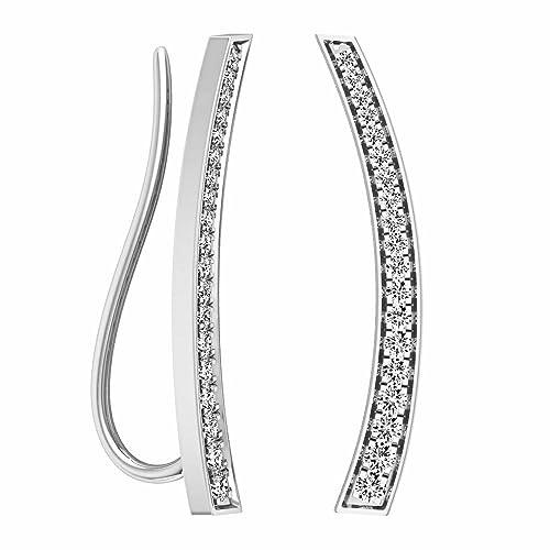 0c71292c6 0.30 Carat (ctw) 14K Gold Round White Diamond Ladies Curved Bar Ear Climber  Earrings