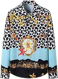 LUONE Hombres Camiseta Palace, Manga Larga Camisa del Smoking, Streetwear para Hombre del Estampado Leopardo impresión Cas...