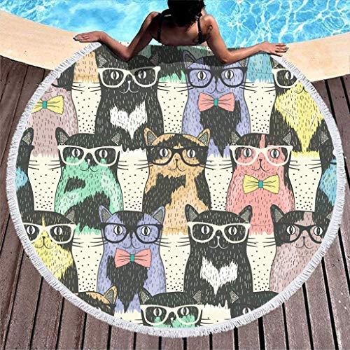 AEMAPE Toalla de Playa Redonda Grande Lindo Gato con Gafas Manta de Playa de Microfibra con borlas Manta de Picnic Manta de Playa Tapiz de Tela de Mesa Colorido 59 Pulgadas
