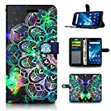 KACHEN Cell Phone Case for Cricket Icon 2, Mandala Galaxy Wallet PU Leather Flip Cover with Kickstand and Credit Card Slots Protective Shockproof Bumper Case