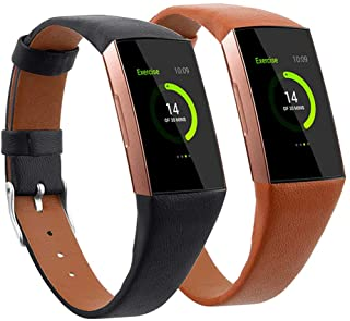 أحزمة جلدية Mtozone متوافقة مع Fitbit Charge 3/Charge 4، إكسسوارات بديلة أحزمة معصم رفيعة للنساء والرجال، مقاس كبير